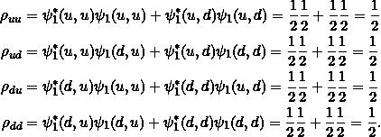 \begin{align*}\rho_{uu} &= \psi_1^*(u,u) \psi_1(u,u) + \psi_1^*(u,d)\psi_1(u,d)= \frac{1}{2} \frac{1}{2} + \frac{1}{2} \frac{1}{2} = \frac{1}{2}\\\rho_{ud} &= \psi_1^*(u,u) \psi_1(d,u) + \psi_1^*(u,d)\psi_1(d,d)= \frac{1}{2} \frac{1}{2} + \frac{1}{2} \frac{1}{2} = \frac{1}{2}\\\rho_{du} &= \psi_1^*(d,u) \psi_1(u,u) + \psi_1^*(d,d)\psi_1(u,d)= \frac{1}{2} \frac{1}{2} + \frac{1}{2} \frac{1}{2} = \frac{1}{2}\\\rho_{dd} &= \psi_1^*(d,u) \psi_1(d,u) + \psi_1^*(d,d)\psi_1(d,d)= \frac{1}{2} \frac{1}{2} + \frac{1}{2} \frac{1}{2} = \frac{1}{2}.\end{align*}